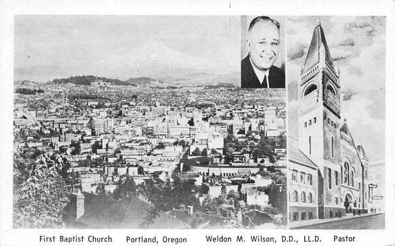 Portland Oregon~First Baptist Church~Pastor Weldon M Wilson~1950s B&W  Postcard