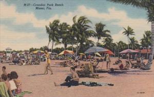 Florida Miami Crandon Park Beach Scene Curteich