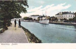 Boat docked in front of residence, Wenersborg, Sweden,  10-20s