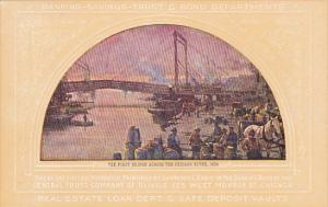 The First Bridge Across The Chicago River 1834 Painting At Central Trust Comp...
