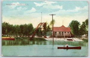 Des Moines Iowa~Bath House~Tall Water Slide~Boy in Rowboat~1909 Postcard