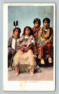 Native Americana - Ute Indian Children, Vintage c1907 Postcard