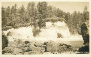 United States real photo postcard a glimpse of the caves beach Whale Cove