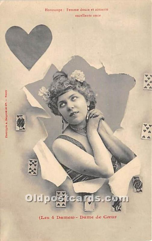 Old Vintage Gambling Postcard Post Card Horoscope, Femme douce et aimante exc...