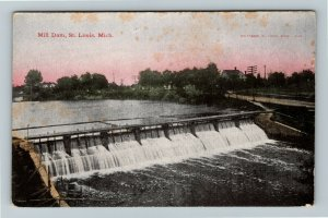 St Louis MI-Michigan, Mill Dam, Vintage Postcard