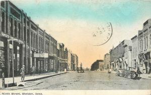 Sheldon Iowa~Ninth Street Businesses~Harvester Company America~Wagon~Boy~1910