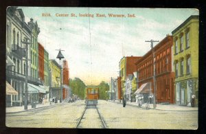 dc989 - WARSAW Indiana 1912 Center Street. Tram. Postcard