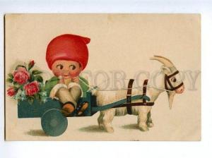 129247 Smoking Charming GNOME & Goat Vintage colorful PC