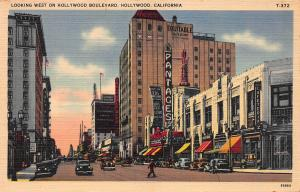 Looking West on Hollywood Blvd., Hollywood, CA, Early Linen Postcard, Unused