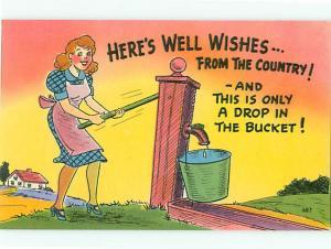 Vintage Postcard  Funny Humor Wishing Well Bucket # 1688