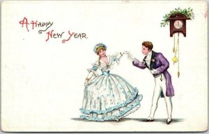 c1910s HAPPY NEW YEAR Embossed Greetings Postcard Colonial Couple Dancing UNUSED