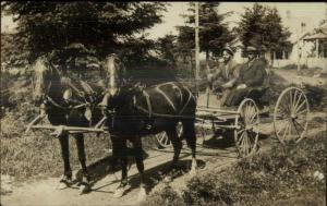 Men Riding Horse Drawn Wagon CRISP c1910 Real Photo Postcard #12