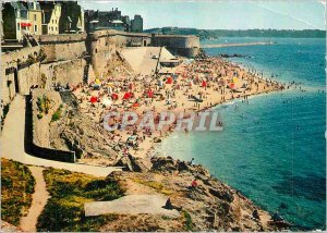Postcard Modern Brittany Saint Malo Les Remparts and Bonsecours Beach
