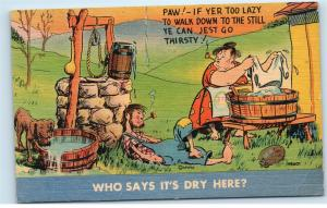 Moonshine Still Hillbilly Drunk Smoking Pipe Wife Dog Well Vintage Postcard B47