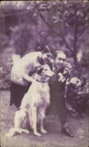 Man & Woman Borzoi Dog Tinted Art Deco Real Photo Postcard 1920s Fashion