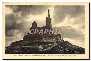 Old Postcard Marseille Notre Dame de la Garde Rain Effect