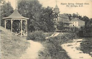 c1907 Lithograph Postcard; Hygeia Spring, Gillespie Hotel, Hot Springs SD Unused