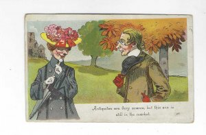 Vtg 1903 Humorous Funny Victorian Man and Woman Antiquites Postcard