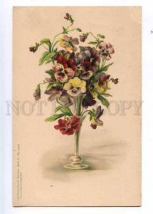 190101 PANSY Bouquet in Vase C. KLEIN Vintage LITHO PC