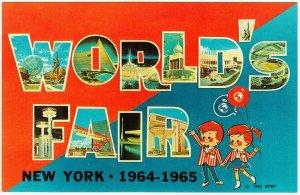 New York World's Fair 1964 Large Letter Postcard Cartoon Children with Balloons