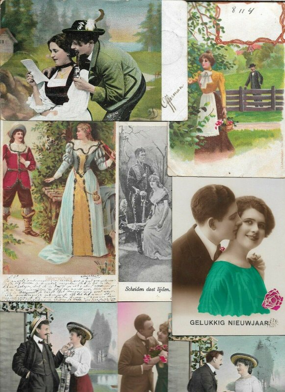 Romantic Couples Victorian Style Fantasy Vintage Postcard Lot of 20   01.17
