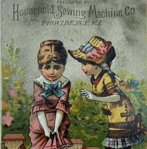 Household Sewing Machine Co Providence Those Island RI Girls Playing Trade Card