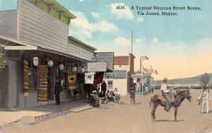 Tiajuana Mexico Street Scene Curio Store Antique Postcard K88492
