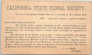 1890s California State Floral Society Postcard Meeting Card San Francisco