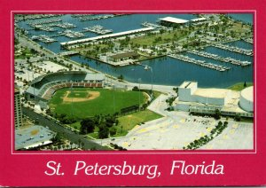 Florida St petersburg Downtown Aerial View Showing Al Lang Stadium and Waterf...