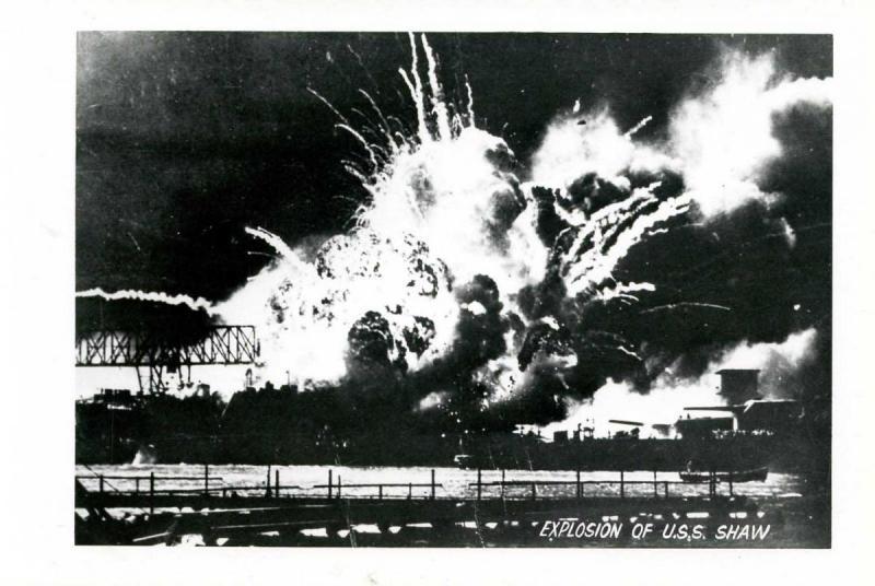 HI - Pearl Harbor. December 7, 1941. Explosion of USS Shaw   *RPPC  (Photo, n...