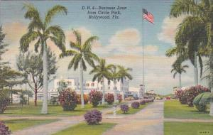 Florida Hollywood Business Area From Circle Park 1943 Curteich
