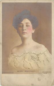 Miss Meffert~Early Stage Actress~Hand Colored Real Photo Postcard~England~1912