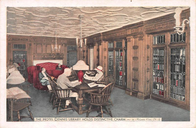 Hotel Dennis Library, Atlantic City, N.J., Very Early Postcard, Unused