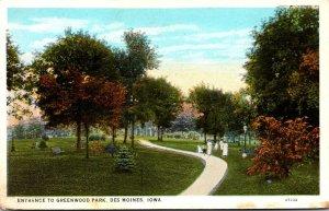 Iowa Des Moines Greenwood Park Entrance 1942 Curteich