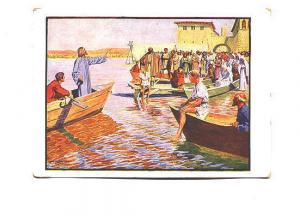 Jesus in a Boat, The Sermon by the Sea, Signed Artist, Vintage German Postcard