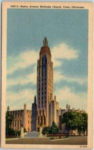 Tulsa, Oklahoma Postcard Boston Avenue Methodist Church Curteich Linen - 1958