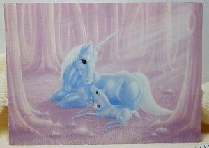 Unicorn Illustration Art Vintage Postcard