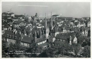 Europe Switzerland Postcard Chateaux Laussane and mountain view