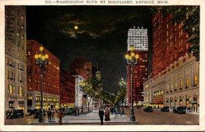 Michigan Detroit Washington Boulevard By Moonlight 1929
