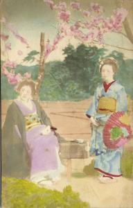 japan, Beautiful Japanese GEISHA Girls in Kimono with Fan (1910s) Hand Painted