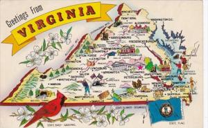 Greetings From Virginia With Map 1960
