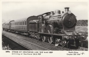 D13 LNE Steam Train At Southend Line Railway Station Postcard