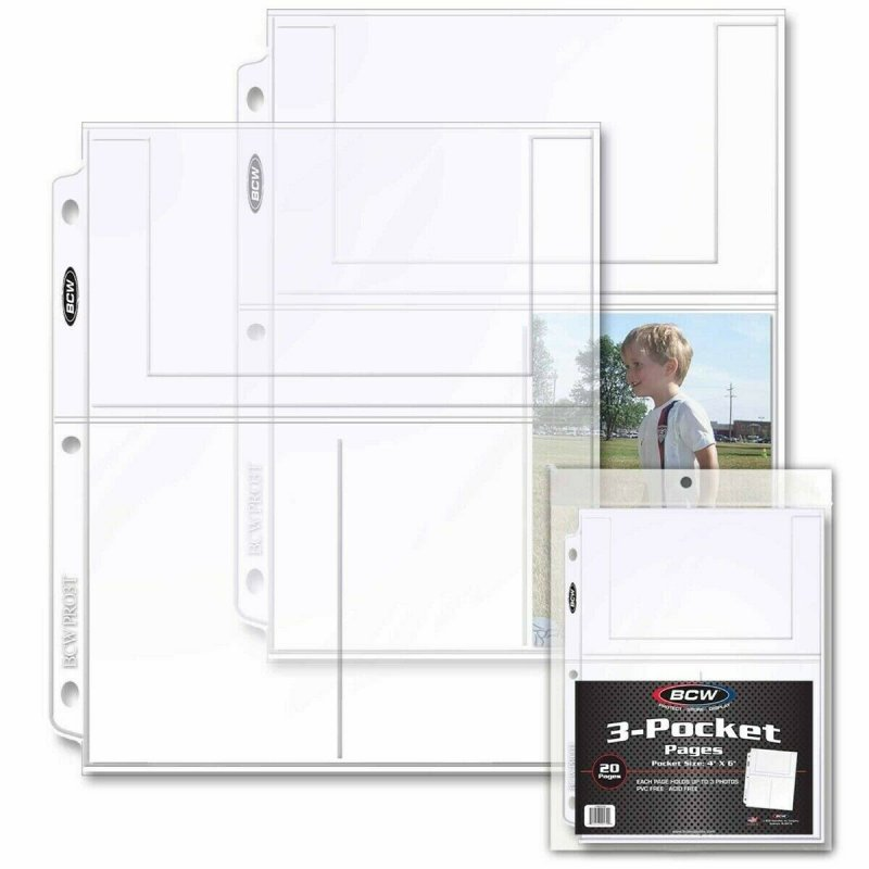 3-Pocket Protective Page BCW PRO Continental Size 4x6 Pack of 20
