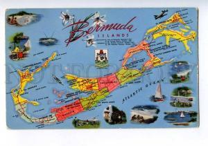 213856 BERMUDA islands MAP collage Vintage postcard