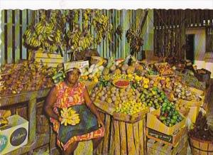 Caribbean Marchande de Fruits Tropical Fruits & Vegetables At Native Market