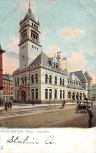 Worcester Massachusetts~US Post Office~Vintage Car~1905 Postcard~TUCK