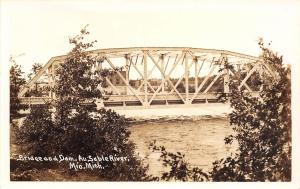 Mio Michigan~Pony Truss Bridge Over the Au Sable River~Dam 1934 RPPC Postcard