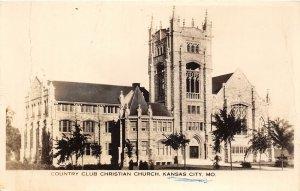 F44/ Kansas City Missouri RPPC Postcard c40s Country Club Christian Church