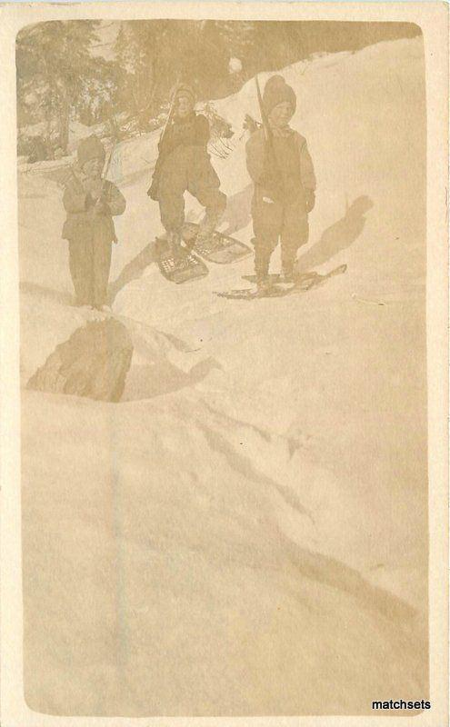 C-1910 Children wearing Snowshoes Winter RPPC real photo postcard 7754