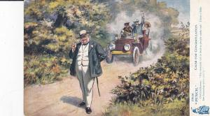 PUNCH, Man thinks he hears a bee, automobile coming down road, 1906; TUCK 9144
